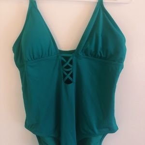 Laundry By Shelli Segal Swim - Turquoise Plunging One Piece